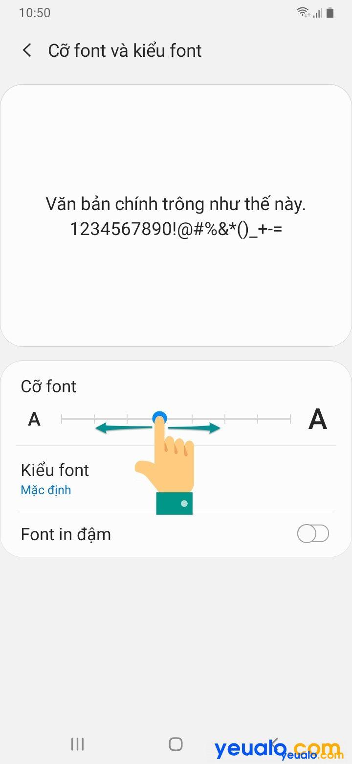Cách cài đặt cỡ chữ cho Samsung 4