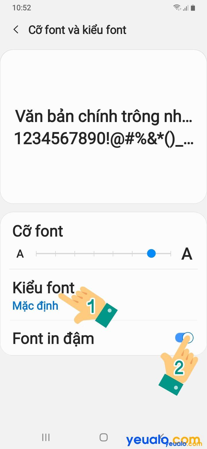 Cách cài đặt cỡ chữ cho Samsung 5