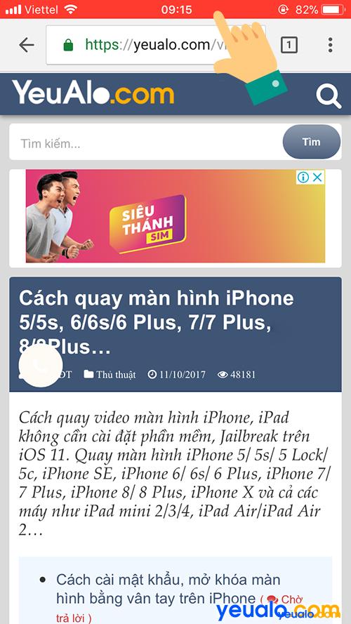 Cách quay màn hình iPhone có tiếng 8