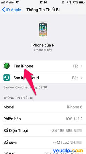 Cách Bật Tắt Tìm iPhone 4