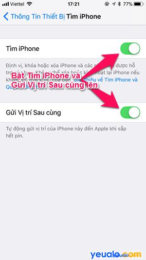 Cách Bật Tắt Tìm iPhone 5