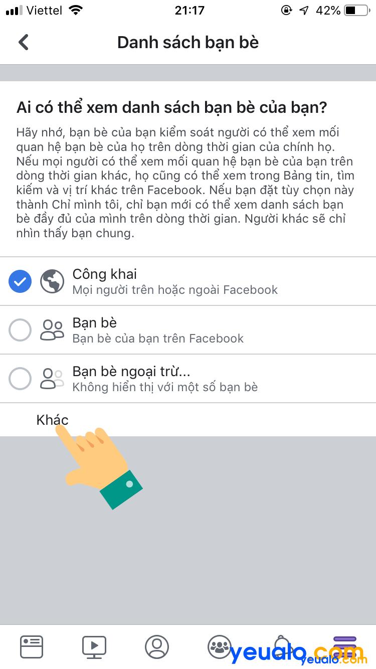 Cách ẩn danh sách bạn bè Facebook trên iPhone 5