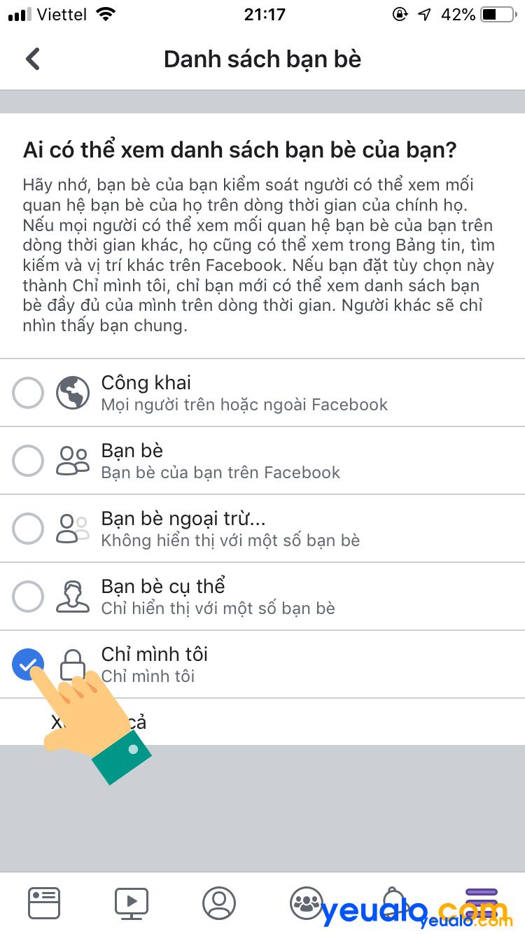 Cách ẩn danh sách bạn bè Facebook trên iPhone 6