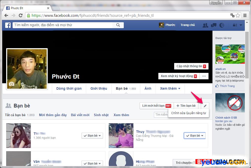Cách ẩn dấu danh sách bạn bè trên Facebook 2
