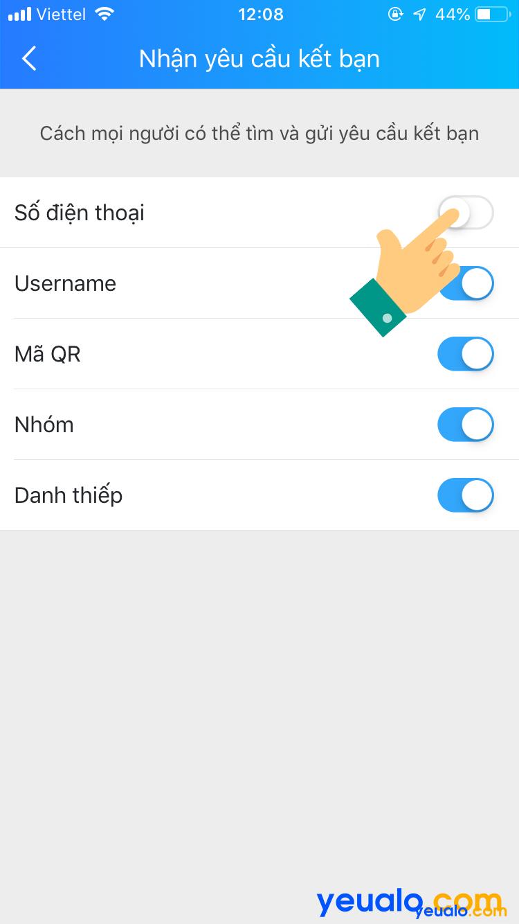 Cách ẩn số điện thoại Zalo trên điện thoại iPhone 5