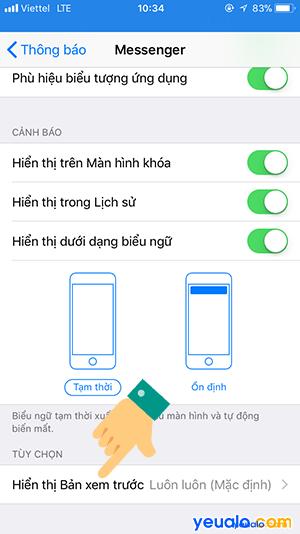 Cách ẩn tin nhắn Messenger trên màn hình khóa iPhone 5