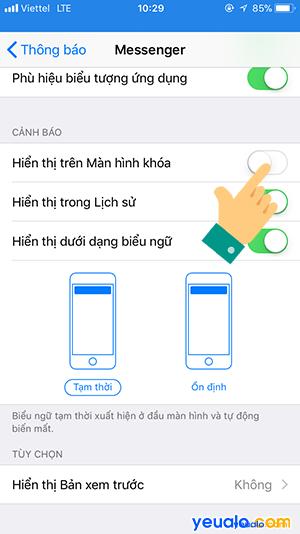 Cách ẩn tin nhắn Messenger trên màn hình khóa iPhone 8