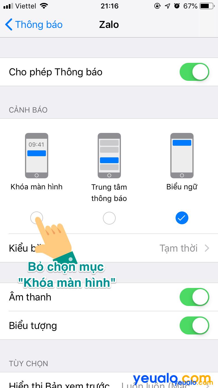 Cách ẩn tin nhắn Zalo trên màn hình khóa iPhone 5
