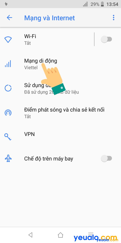 Cách mở 3G 4G trên Vsmart 3