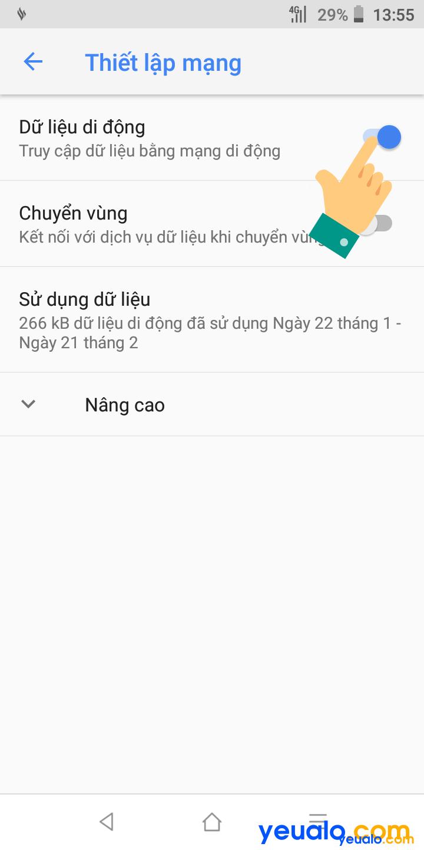 Cách mở 3G 4G trên Vsmart 4