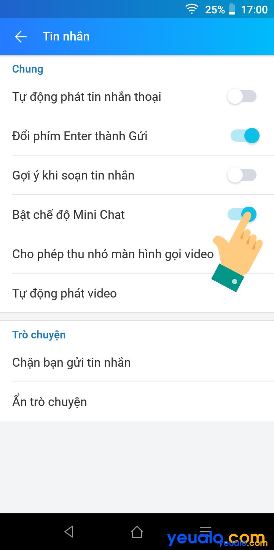 Cách bật Mini chat trên Zalo 4