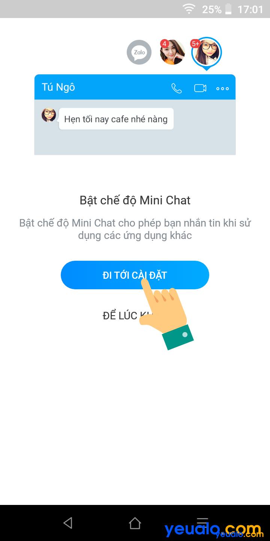 Cách bật Mini chat trên Zalo 5