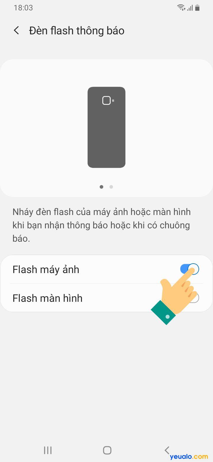 Cách bật đèn Flash thông báo trên Samsung 5