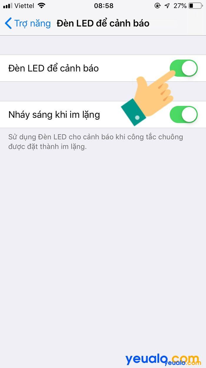 Cách Bật đèn Flash iPhone 6 khi có cuộc gọi đến 5