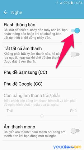 Cach bật đèn flash nháy sáng khi có cuộc gọi tin nhắn đến trên điện thoại Samsung Galaxy 4