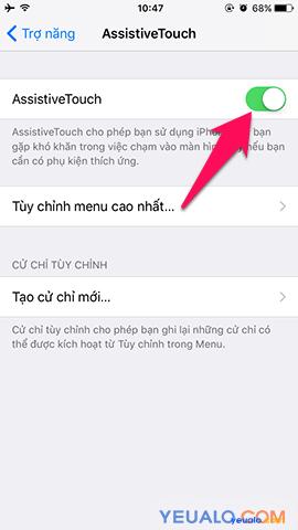 Cách bật nút Home ảo cho iPhone 5