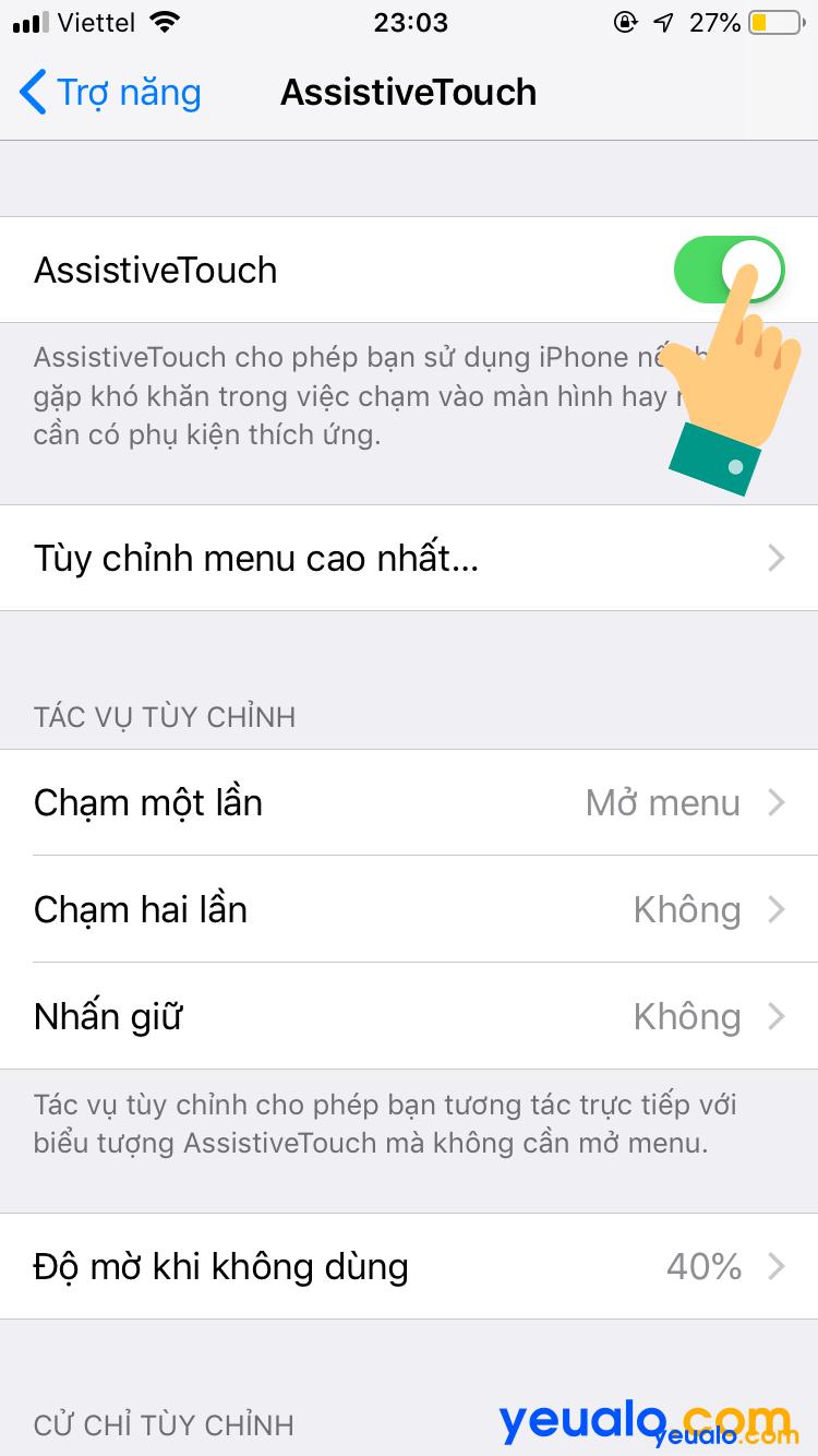 Cách bật nút home ảo iOS 12 5