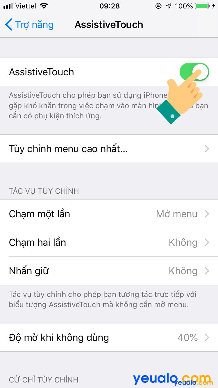 Cách bật nút home ảo trên iPhone 6 5
