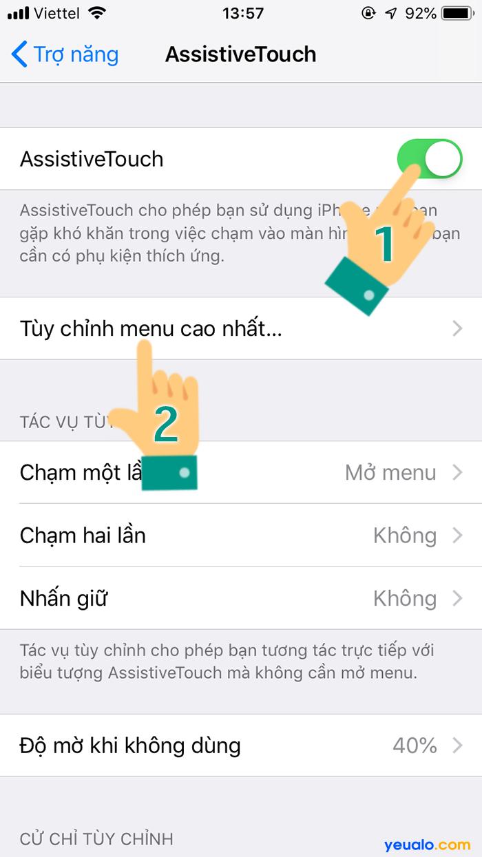 Cách bật nút home ảo trên iPhone Xr Xs Max 4