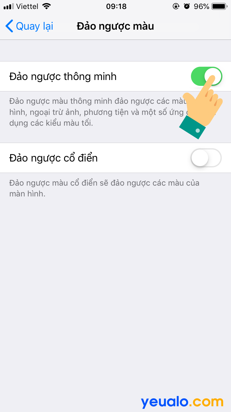 Cách bật tắt Đảo ngược màu trên iOS 12 6
