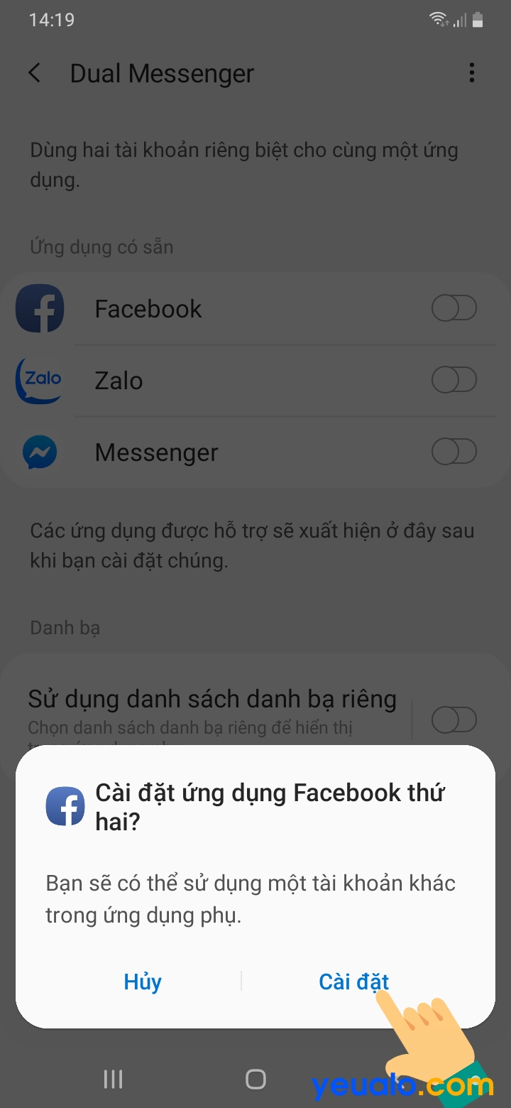 Cách bật tính năng Dual Messenger trên Samsung 5