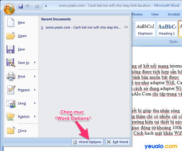 Cách xóa bỏ dấu gạch chân trong Word 2007 2