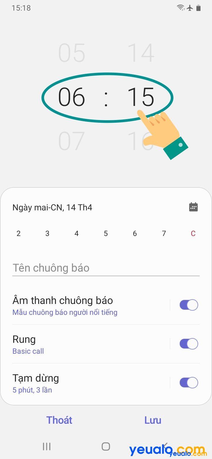 Cách cài báo thức trên Samsung 3