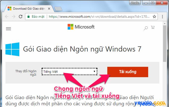 Cách cài đặt giao diện ngôn ngữ Tiếng Việt cho máy tính Windows 7 1