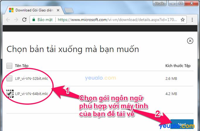 Cách cài đặt giao diện ngôn ngữ Tiếng Việt cho máy tính Windows 7 2