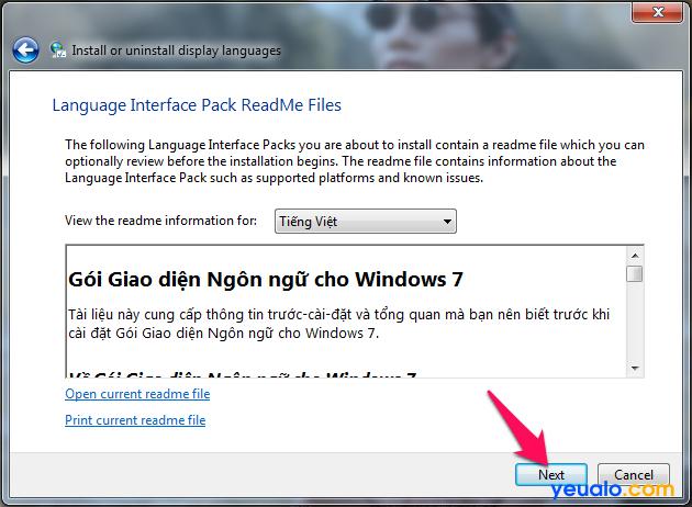 Cách cài đặt giao diện ngôn ngữ Tiếng Việt cho máy tính Windows 7 6