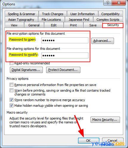 Cách cài đặt mật khẩu file Word 2013 2