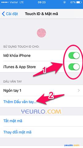 Cách cài mật khẩu mở khóa màn hình bằng vân tay trên điện thoại iPhone 6