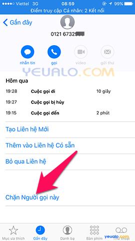 Cách chặn cuộc gọi trên điện thoại iPhone 3