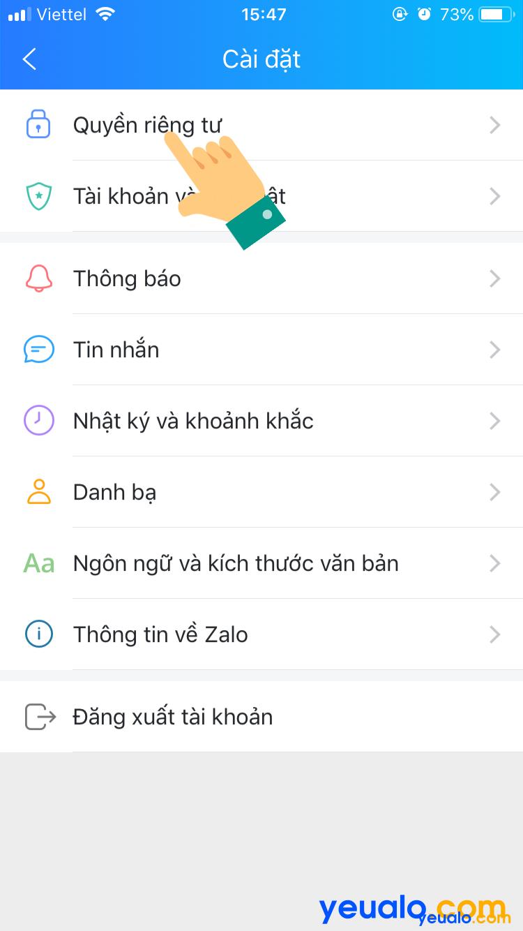 Cách chặn tìm kiếm Zalo bằng số điện thoại 2