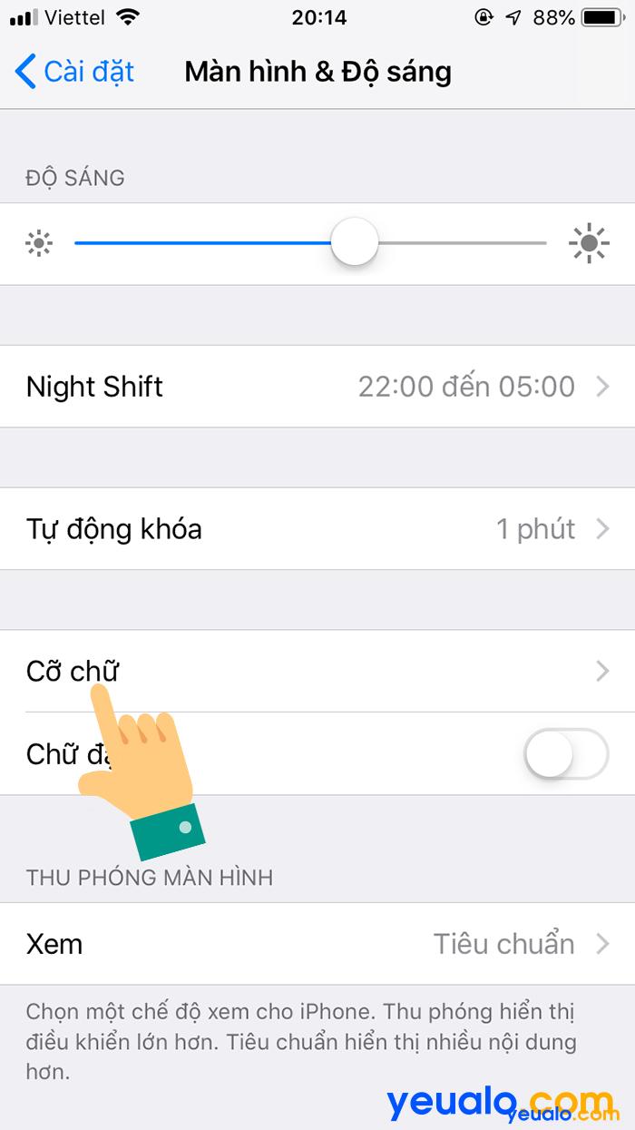 Cách chỉnh cỡ chữ iPhone 6 3