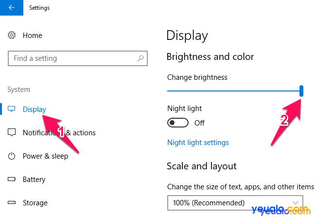 Cách chỉnh độ sáng màn hình máy tính 5