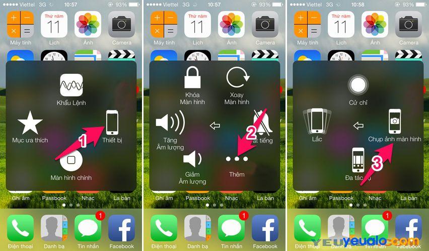 Cách chụp ảnh màn hình điện thoại iPhone bằng AssistiveTouch