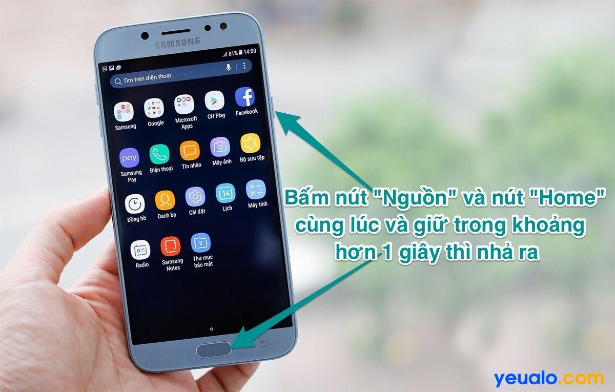 Cách chụp màn hình Samsung J7 Pro