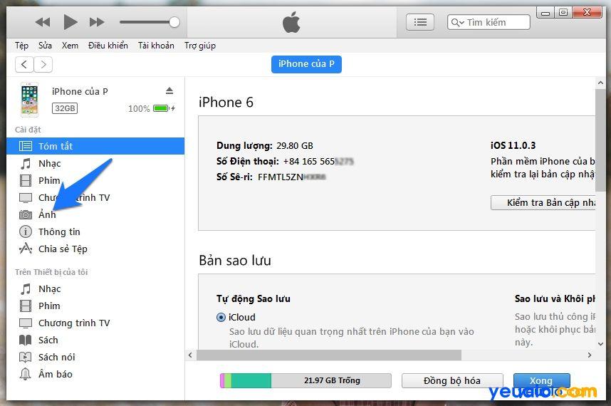 Cách copy Ảnh từ máy tính vào iPhone 2