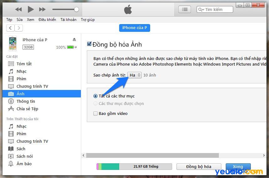 Cách copy Ảnh từ máy tính vào iPhone 3