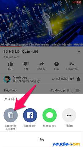 Cách copy đường link video Youtube trên điện thoại 2