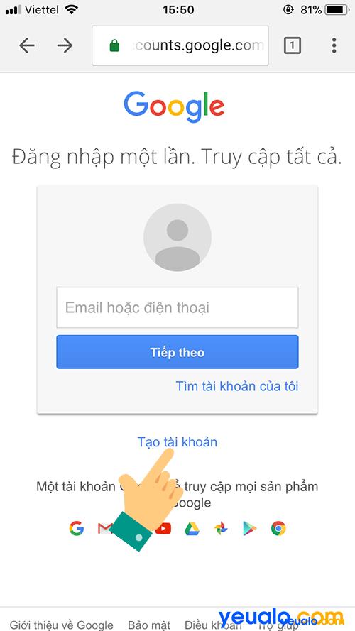 Cách đăng ký Gmail bằng điện thoại 1