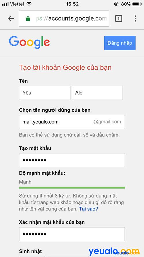 Cách đăng ký Gmail bằng điện thoại 2