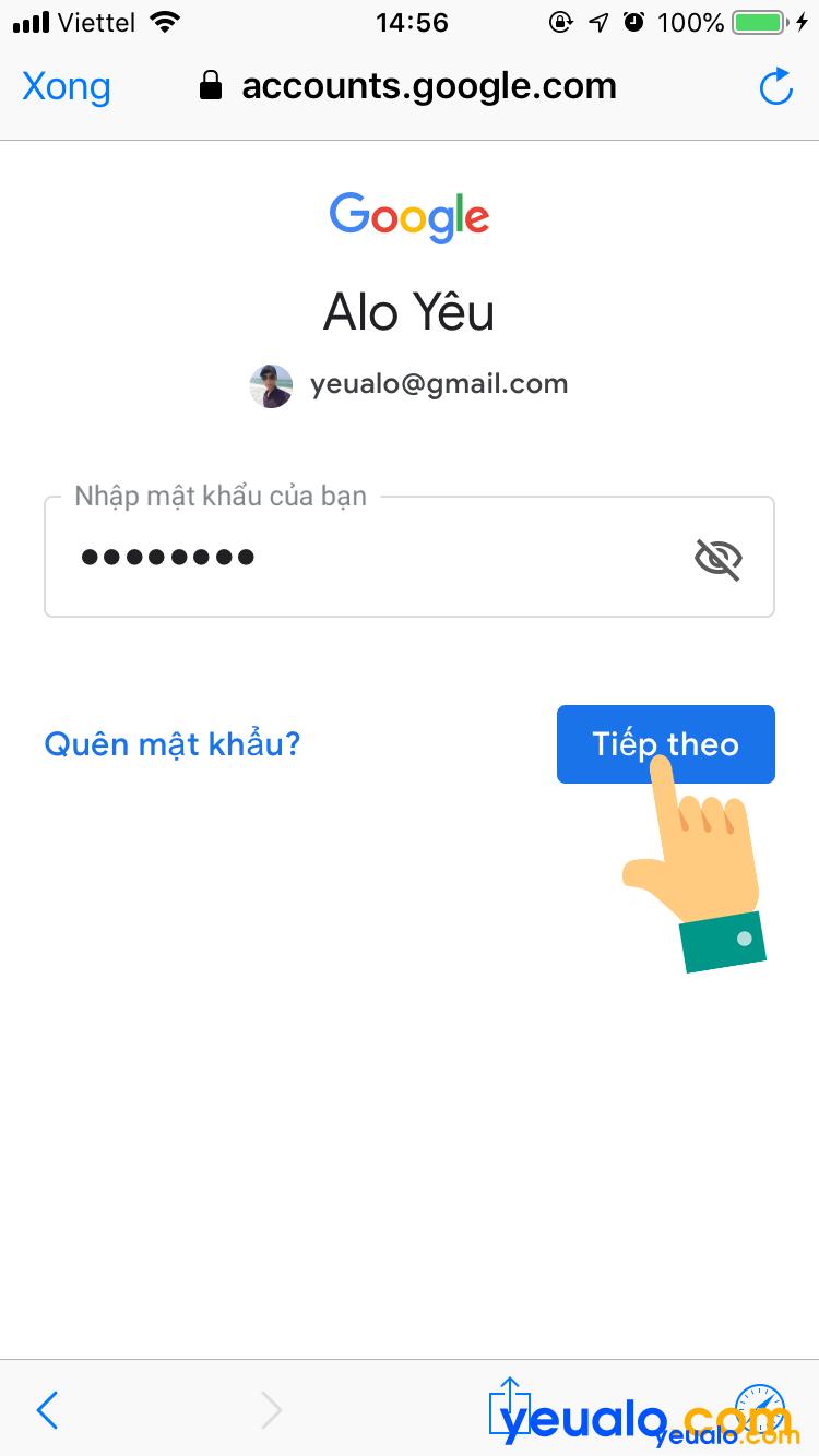 Cách đăng nhập Gmail trên iPhone 6