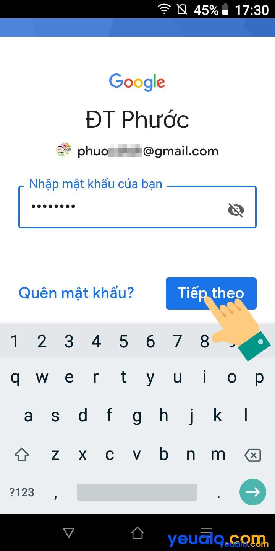 Cách đăng nhập tài khoản Google trên Vsmart 5