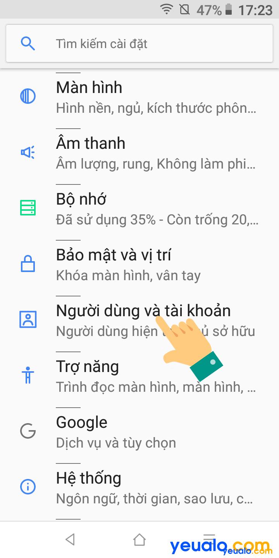 Cách đăng xuất tài khoản Google trên điện thoại Vsmart 2