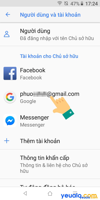 Cách đăng xuất tài khoản Google trên điện thoại Vsmart 3