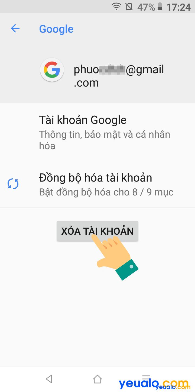 Cách đăng xuất tài khoản Google trên điện thoại Vsmart 4