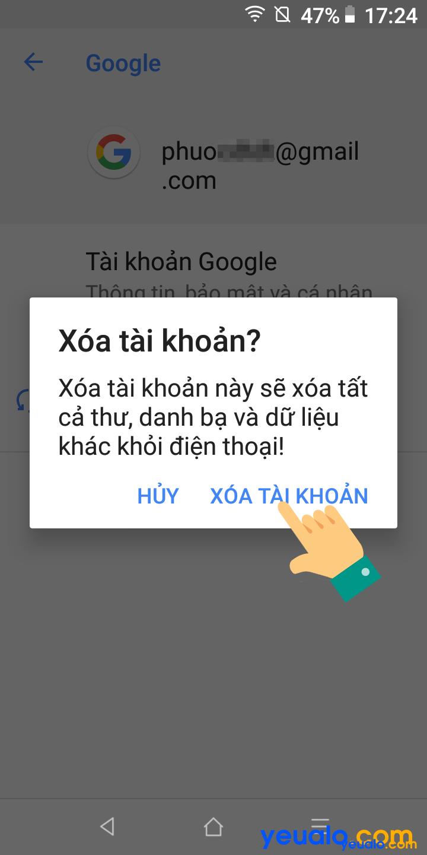 Cách đăng xuất tài khoản Google trên điện thoại Vsmart 5