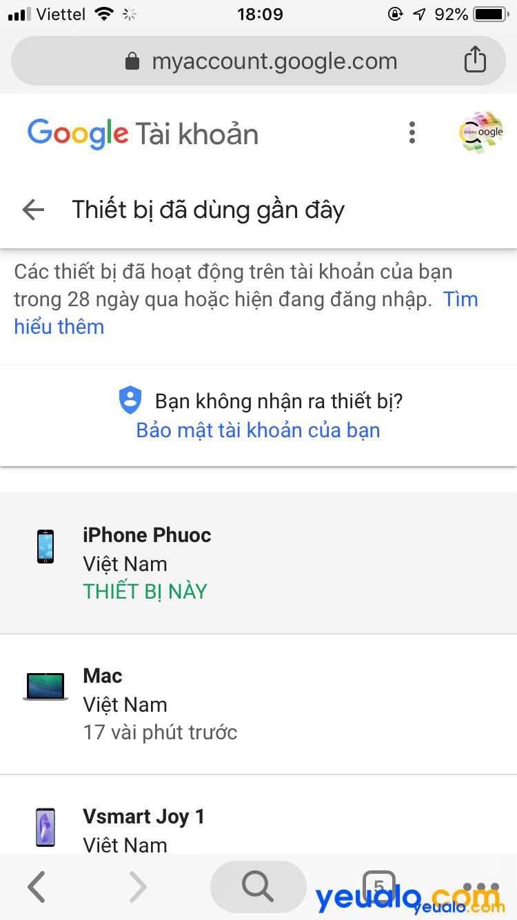 Cách đăng xuất tài khoản Google từ xa bằng điện thoại 2